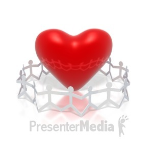 ID# 3086 - Paper Figures Hold Hands Circle Heart - Presentation Clipart