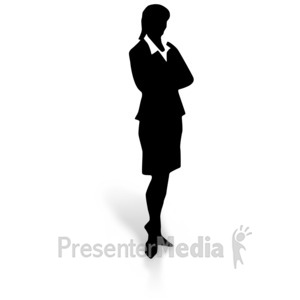 ID# 3092 - Silhouette of a Woman in a Dress Skirt - Presentation Clipart