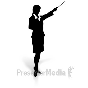 ID# 3101 - Businesswoman Silhouette Point - Presentation Clipart