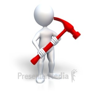 ID# 3137 - Stick Figure Holding Hammer - Presentation Clipart