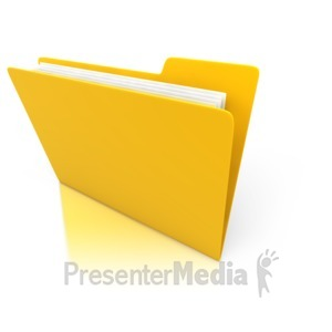 ID# 3153 - Single Yellow Folder with Paper - Presentation Clipart