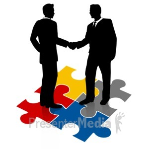ID# 3191 - Businessmen Shake Hands Puzzle - Presentation Clipart
