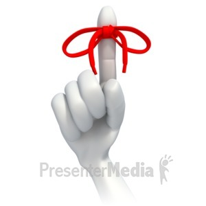 ID# 3209 - String Tied Around Finger Reminder - Presentation Clipart