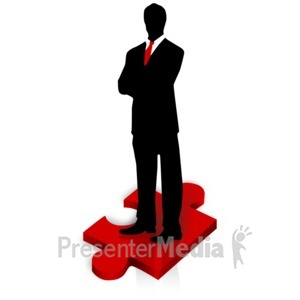 ID# 3217 - Businessman Stand Puzzle Piece - Presentation Clipart