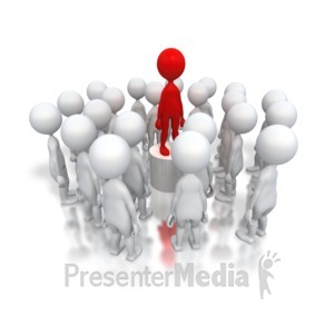 ID# 3226 - Stick Figure Chosen From Crowd - Presentation Clipart