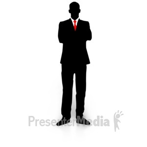 ID# 3264 - Businessman Silhouette Folded Arms - Presentation Clipart