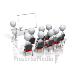 ID# 3268 - Stick Figure Presenter Meeting - Presentation Clipart