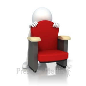 ID# 3272 - Figure Hiding Scared Behind Chair - Presentation Clipart