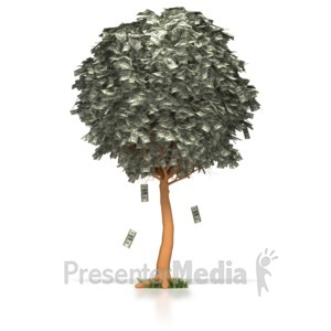 ID# 3281 - Money Dollar Tree  - Presentation Clipart