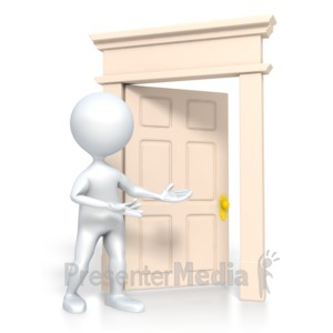 ID# 3300 - Stick Figure Come In - Presentation Clipart