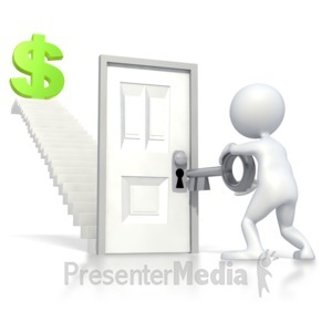 ID# 3305 - Unlocking Stairs Financial Freedom - Presentation Clipart