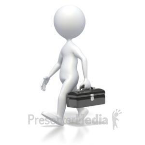 ID# 3309 - 3D Stick Figure Walking with Toolbox - Presentation Clipart