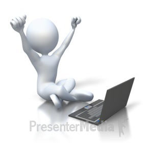 ID# 3330 - Stick Figure Happy Laptop - Presentation Clipart