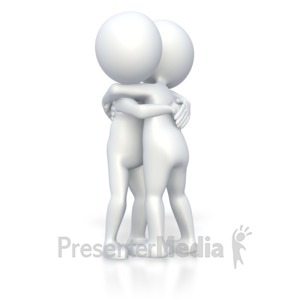 ID# 3332 - Stick Figures Giving Hug  - Presentation Clipart