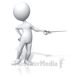 ID# 3338 - Stick Figure Presenter Pointing - Presentation Clipart