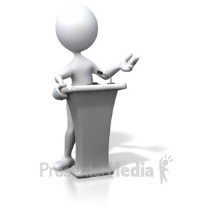 ID# 3352 - Stick Figure Podium Speaking - Presentation Clipart