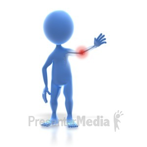 ID# 3357 - 3D Stick Figure Arm Pain - Presentation Clipart
