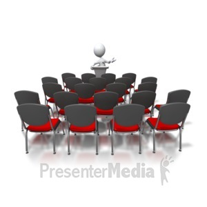 ID# 3358 - Stick Figure Speaking To Nobody - Presentation Clipart
