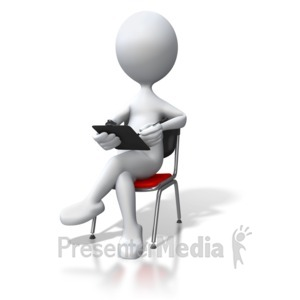 ID# 3365 - Stick Figure Sitting In Chair Clipboard - Presentation Clipart