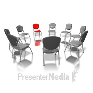 ID# 3366 - Red Chair In Circle - Presentation Clipart