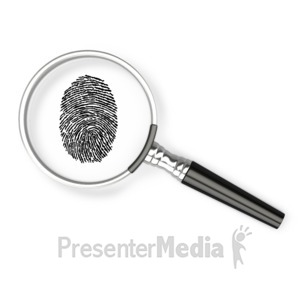 ID# 3380 - Magnifying Glass Fingerprint - Presentation Clipart