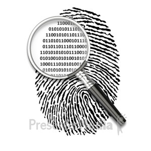 ID# 3389 - Magnify Fingerprint Binary Code - Presentation Clipart