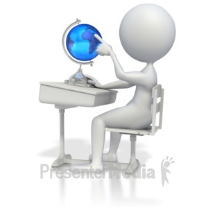 ID# 3415 - Student at Desk with Globe - Presentation Clipart
