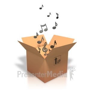 ID# 3424 - Music Notes Coming Out Of Box - Presentation Clipart