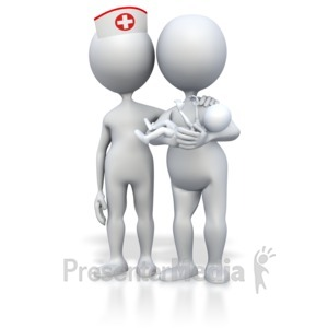 ID# 3427 - Mom Baby And Midwife Nurse - Presentation Clipart