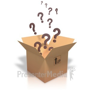 ID# 3428 - Question Marks Coming Out Of Box - Presentation Clipart
