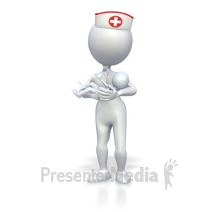 ID# 3430 - Nurse With Baby  - Presentation Clipart