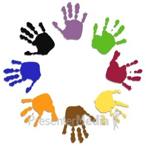 ID# 3432 - Colored Hand Circle - Presentation Clipart