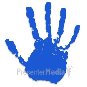 ID# 3435 - Single Blue Hand Print - Presentation Clipart