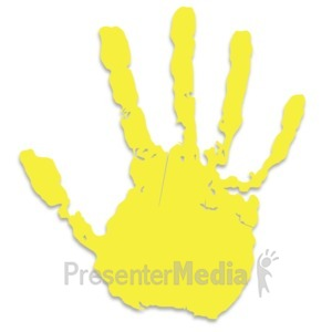 ID# 3440 - Single Yellow Hand Print - Presentation Clipart