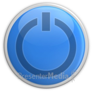 ID# 3447 - Blue Power Button  - Presentation Clipart
