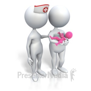 ID# 3451 - Mom And Nurse Its A Girl - Presentation Clipart