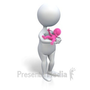 ID# 3455 - Mom Holding Baby Girl - Presentation Clipart
