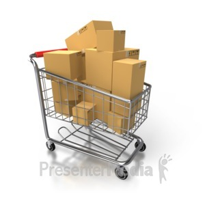 ID# 3461 - Shopping Cart Full Of Boxes - Presentation Clipart