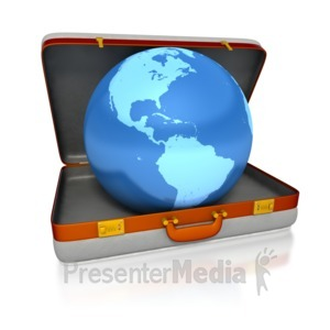 ID# 3464 - Suitcase Globe - Presentation Clipart