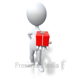 ID# 3466 - Stick Figure Giving Red Gift - Presentation Clipart
