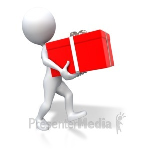ID# 3467 - Stick Figure Carrying Red Gift - Presentation Clipart