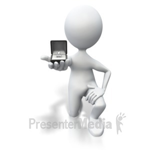 ID# 3477 - Stick Figure Marriage Proposal - Presentation Clipart