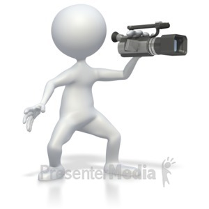 ID# 3483 - Stick Figure with Video Camera  - Presentation Clipart