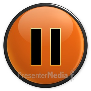 ID# 3495 - Arrow Orange Pause Button - Presentation Clipart