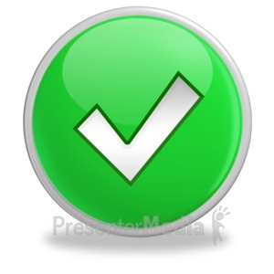 ID# 3499 - Green Check Mark Button - Presentation Clipart