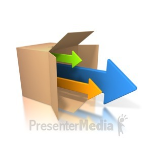 ID# 3514 - Arrows Coming Out Of Box - Presentation Clipart
