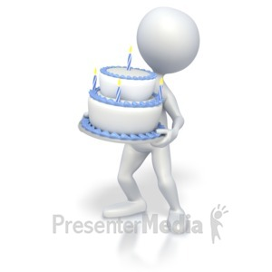 ID# 3515 - Stick Figure holding Birthday Cake - Presentation Clipart
