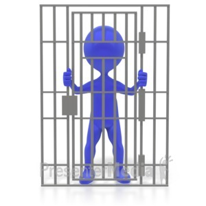 ID# 3522 - Figure Behind Bars - Presentation Clipart
