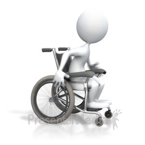 ID# 3523 - Stick Figure Racing Wheelchair - Presentation Clipart