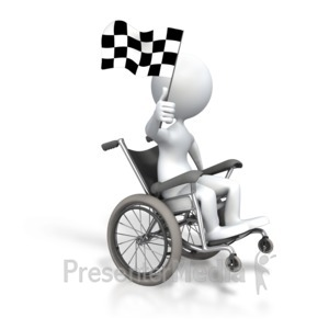 ID# 3525 - Stick Figure Wheelchair Checkered Flag - Presentation Clipart
